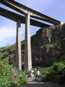 Hikers under a viaduct