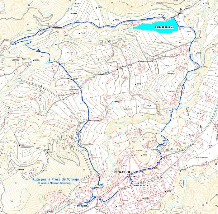 Mapa de la ruta. Presa de Toronjo