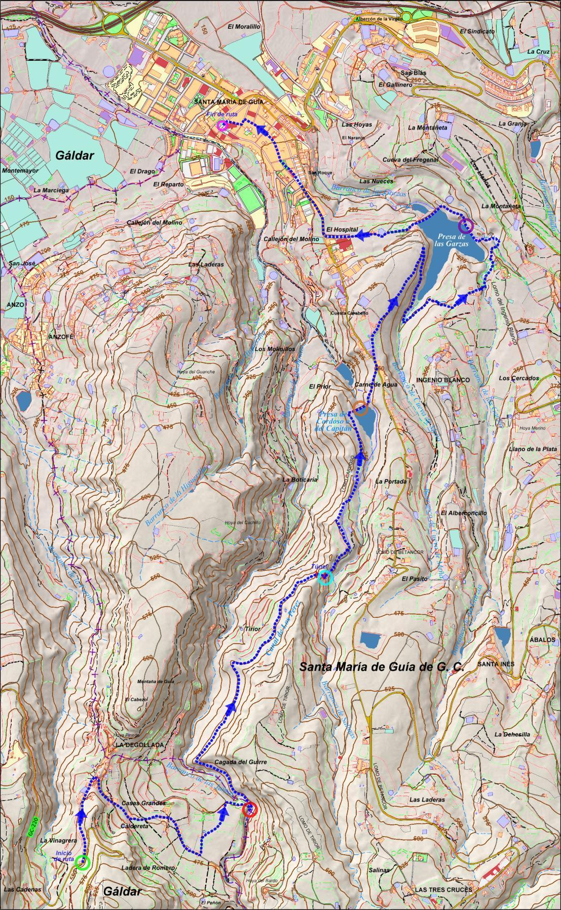 Mapa de la ruta presas de Guía