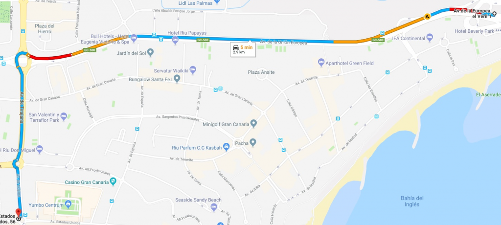 A partir del sábado 16 de junio, modificaciones por el cierre al tráfico de la Calle Escorial- Playa del Inglés