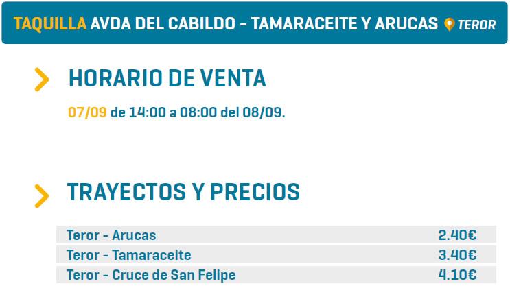 TAQUILLA AVDA DEL CABILDO - TAMARACEITE Y ARUCAS - TEROR