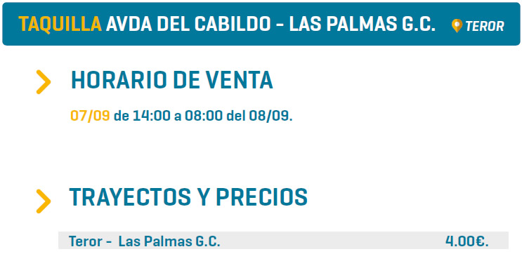 TAQUILLA AVDA DEL CABILDO - LAS PALMAS G.C. - TEROR