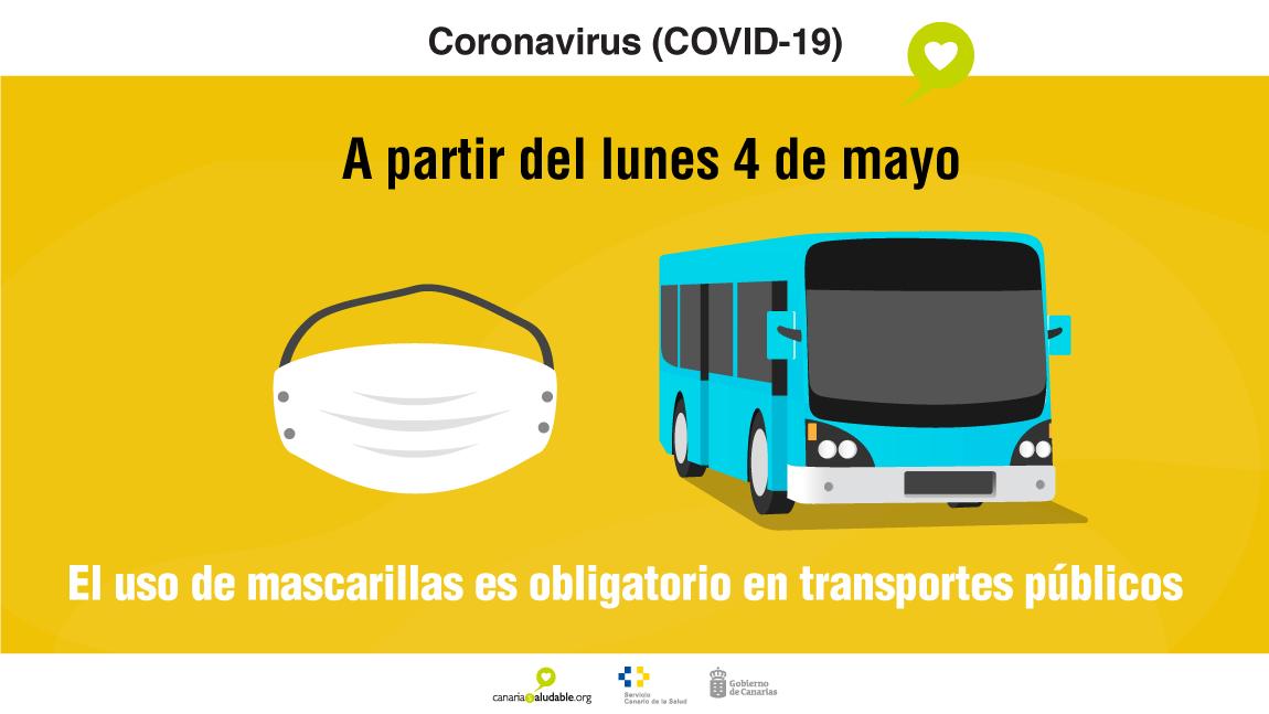Uso obligatorio de mascarillas en el transporte público