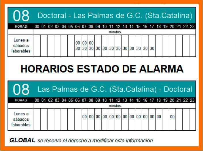 Nuevos horarios del estado de alarma de la Línea 08 a partir del lunes 11/05/2020