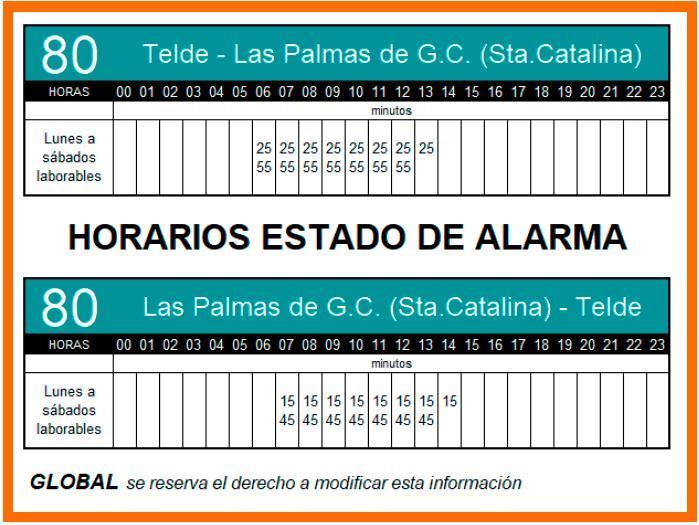 Nuevos horarios del estado de alarma de la Línea 80 a partir del lunes 11/05/2020