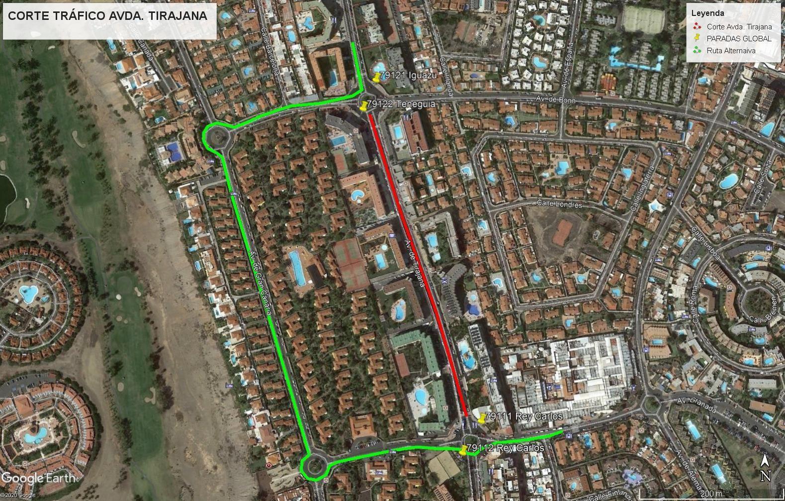 Estado del servicio del cierre al tráfico de la Avenida de Tirajana